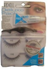 Ardell Deluxe Pack False Eyelashes w/ Clear Adhesive Applicator #110 Black