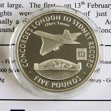 Londres a Sydney registro Concorde 2006 Gibraltar Plata Prueba £ 5 Corona-cert. de autenticidad