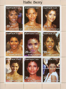 Kyrgyzstan 2003 MNH Halle Berry 9v M/S Actors Celebrities Famous People Stamps