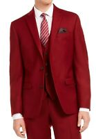 Bar III Mens Flannel Suit Jacket Red Size 34 Short Slim-Fit Notch-Lapel $425 178