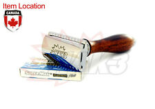 DE DOUBLE EDGE SHAVING TRAVEL SAFETY RAZOR TRADITIONAL WOODEN WOOD HANDLE BLADES