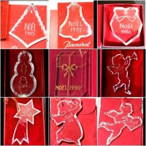 Baccarat French Clear Crystal Christmas NOEL ANNUAL 1983-2000 ORNAMENT w/b
