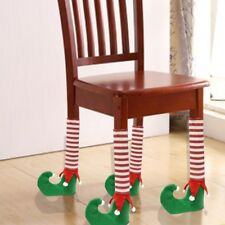 4Pcs/Set Elf Table Or Chair Leg Covers Red Boots & Bell Christmas Table Decor
