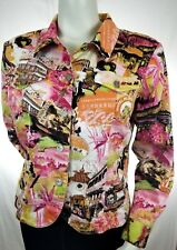 Erin London Stretch Jacket Small Lightweight Blazer Multicolor Asian Print Art