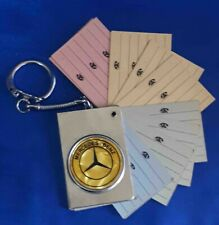 Vintage Keychain Keyring Mercedes Benz Car Logo With Paper Telephone Note