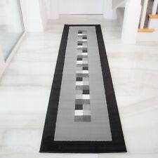 Modern Grey Geometric Living Room Rugs Bordered Long Narrow Hallway Runner Rugs