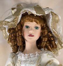 "DanDee Collectors Choice Porcelain Doll 21"" Auburn Curly Hair Green Eyes w/Stand"