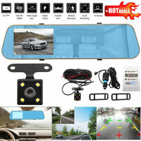 "4.3"" HD Car DVR Dash Cam Recorder Front and Rear Mirror Camera Video Recorder UK"