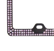 3Row Rose Pink Crystal Rhinestone on Black License Frame w Swarovski Elements