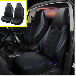 2 pc Seat Cover Set Front Integrated Bucket for Car Truck PU Leather Black/Blue