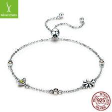 Genuine 925 Sterling Silver Adjustable Bracelet Bees Dance Flower Chain Jewelry