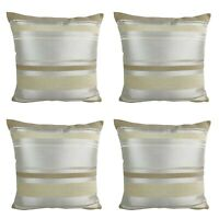 Pack of 4 Filled Cushions  - Satin Cream With Varied Gold + Cream Strips 17x17""