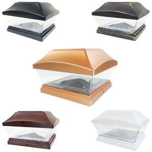 8 Black / Bronze / Brown / Copper / White 6 x 6 Solar Post Deck Cap Fence Light