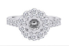14K White Gold Over Sterling Silver Cubic Zirconia Semi Mount Band Ring