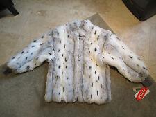 NEW VINTAGE Donnybrook Faux Fur Coat Black White Womens Size Medium Rihanna