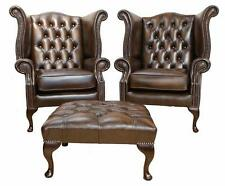2 x Chesterfield Queen Anne High Back Wing Chairs Ant Brown Leather + Footstool