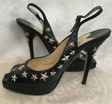 Jimmy Choo Shoes Black Leather Silver Star Peep Toe Sling Platform Size 37 1/2