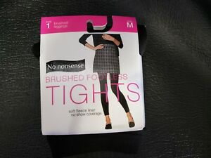 No nonsense Brushed Footless Tights Black Color Size Medium New Soft Fleece
