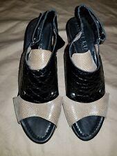 ANYI LU Athena Black and Metallic Leather Open Toe Slingback Shoes  35.5/5 EUC