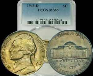 1946-D Jefferson Nickel PCGS MS65 Color Toned BU Uncirculated Coin In High Grade