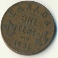 COIN / CANADA / 1 CENT 1936 / KING GEORGE V.  #WT7685