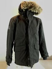 DIDRIKSONS Mens Faux Fur Hooded Black Winter 100% Waterproof Parka Coat UK Small