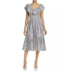 NWOT- $548 Tory Burch Eyelet Embroidered Stripe Flounce Ruffles Midi Dress- Sz 6