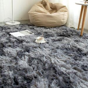 Large Fluffy Rugs Super Soft Anti-Slip Carpet Mats Floor Bedroom Living Room UK