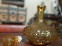 Vintage Italy Amber Glass Decanter Bottle Diamond Cut w/ Stopper
