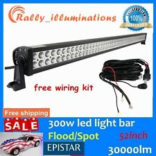 52inch 300W EPISTAR Led Light Bar Flood&Spot Combo DRIVING OFFROAD + Wiring Kit