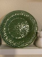 2 Vintage Portuguese Bordallo Pinheiro Grape Leaf Majolica Plate 10 1/2 Inches