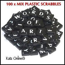 100 Plastic Scrabbles Tiles Letters Numbers Alphabet Scrabble Game Crafts BLACK