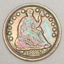 1853 Seated Liberty Half 1/2 Dime 5 Cents Silver Coin