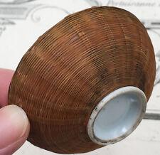 Coupelle Porcelaine & Vannerie Chine Peinte à la Main 19e Old Chinese porcelain