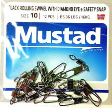 7 Pack Mustad STAY-LOCK SNAP WITH BALL BEARING SWIVEL Size 3.3 SLSBB-33