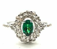 Sterling Silver 925 Oval Green Tourmaline Double CZ Halo Cocktail Band Ring Sz 7