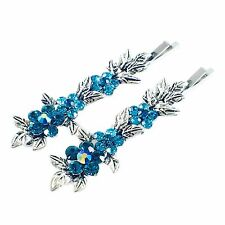 USA Vintage Bobby Pin Rhinestone Crystal Hair Clip Hairpin Jeweled Flower Blue