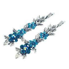 USA Vintage Bobby Pin Rhinestone Crystal Hair Clip Hairpin Jeweled Flower Blue