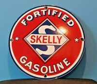 VINTAGE SKELLY GASOLINE PORCELAIN GAS SERVICE STATION PUMP PLATE AD SIGN