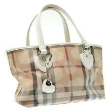 BURBERRY Nova Check PVC Heart Charm Tote Bag Beige Auth rd171