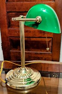 Brass Style Bankers Desk Lamp Green Blown Glass Shade