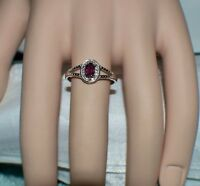 3/4 ct. NATURAL AFRICAN RED RUBY & GENUINE DIAMOND .925 STERLING  SILVER RING