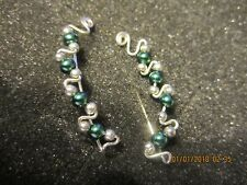 Pr Green Glass Pearl Ear Vines Climbers Ear Pins Sterling Silver Filled Wire 4