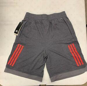 Adidas Boys Youth Training Shorts XL Grey Red AH5457