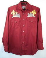 Vtg Pardners Pearl Snap Cactus Embroidered Shirt Mens Sz M Maroon Western