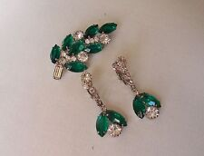 Vintage Emerald Green & Clear Rhinestone Pin & Dangle Earrings