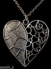 VALENTINES TIBETAN SILVER FRETWORK HEART PENDENT ON A SILVER COLOUR CHAIN HCN023