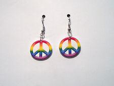 Peace Earrings Love Rainbow Color Charms