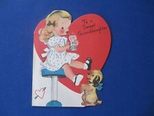 Valentine Card To a Sweet Granddaughter Vintage Unused 1950 Heart