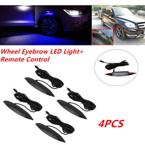 4* Car Fender Flares Arch Wheel Eyebrow Protector Blue LED Light+Remote Control